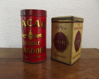 2 antique Dutch cacao tins,cacoa tins, Bensdorp, Beukers en Rijneke, chocolate
