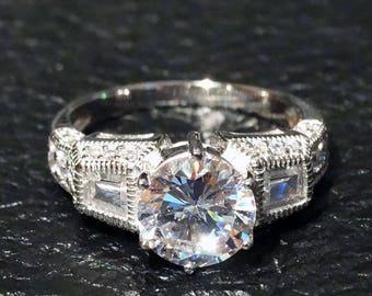 Classic Engagement Ring Diamond Replica Vintage CZ Sterling Silver