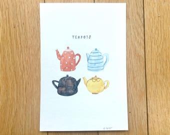Teapots original watercolour painting, handpainted - (Small)