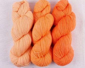 Draft No. 24 - peach gradient set - hand dyed yarn - fingering sock - 3 skeins 300g - Rosamunde MCN merino cashmere nylon