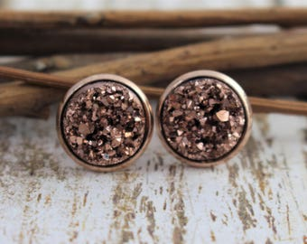 Rose Gold Druzy Earrings - Rose Gold Stud Earrings - Faux Druzy Earrings - Bridesmaid Jewelry - Drusy - 12mm Studs - Bridesmaid Gift - 8mm
