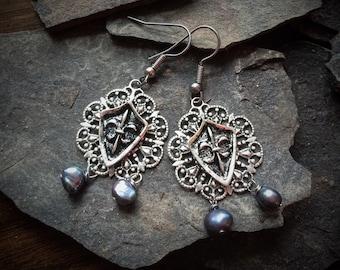 Silver Shield Earrings, Silver Cross Earrings, Tudor Earrings, Medieval Earrings, Coat of Arms Earrings, Medieval Cross Earrings, The Tudors
