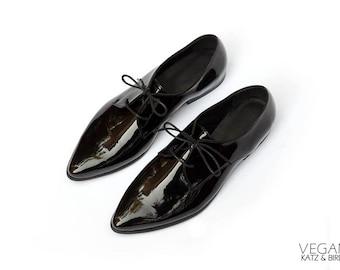 Vegan Shoes, Black Oxford Shoes, Black Classic Shoes, Shiny Black Shoes, Flat Shoes, Vegan Leather Women Shoes