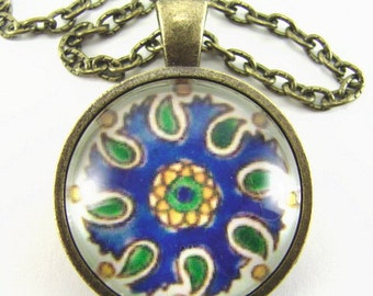 MEDITERRANEAN KITCHEN Tile Necklace -- Sunshine and paisley blue green gold captured in a hand-painted Spanish tile, Friendship token