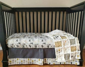 Gray Adventure Awaits Crib Set