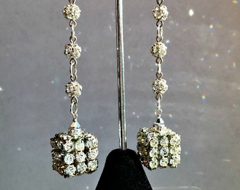 Long Bold Rhinestone Cubic Drop Earrings /Vintage Clear Rhinestone Statement Jewelry / Silver Glam Crystal Dangle Earrings / Unique / Bright