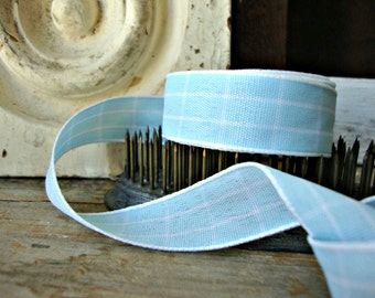 2 Yards - Baby Blue and White Windowpane Check Ribbon