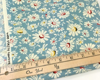 Blue Daisy Fabric, Wee Play, American Jane, Moda, Sandy Klop, **PRE-WASHED**, 46 Inches