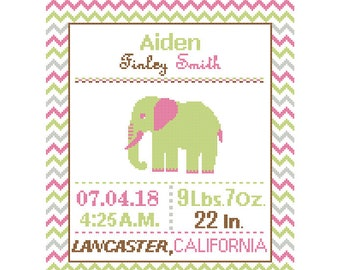 1 Cross Stitch custom Pattern Baby Boy/Girl Personalised Birth Announcement Birth Record Elephant Green, Pink, Brown Nursery chevron