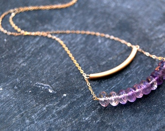 aegis... gold amethyst bar necklace / 14k gold filled tube bar & ombre amethyst rondelle / february birthstone