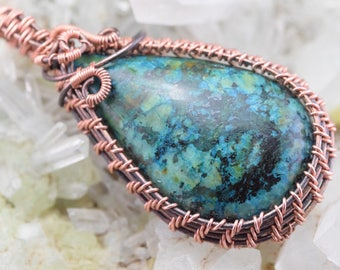 Wire Wrap wire of copper Turquoise pendant