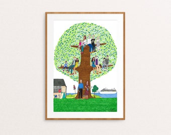 A3 Family tree - custom family illustration, personalised family portrait, hand drawn family artwork, physical+digital available, genealogy