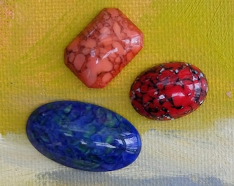 Vintage Art Glass Cabochon Three Pieces