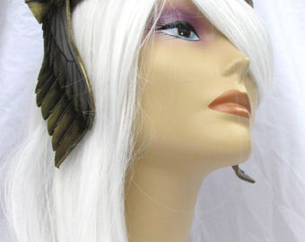 Valkyrie, Viking, LARP, Leather Crown, Thor, Wings,  Inverse Winged Crown Antique Gold, Circlet, Cosplay, Helmet,  Amazon