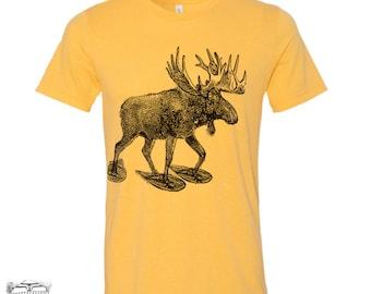 Men's MOOSE (in Snow Shoes) t shirt s m l xl xxl (+ Color Options) custom