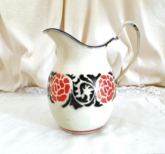 Antique French White and Red and Black Bohemian Style Pattern Enamelware Water Pitcher, Country Cottage Farmhouse Enamel Jug from France