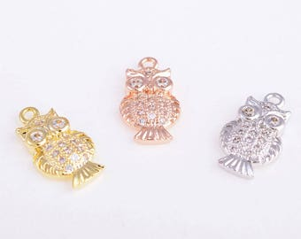 Owl charm/pendant/necklace, tiny/cute owl charm.pendant/necklace, CZ gold/rose gold/silver owl charm/pendant/necklace, 16MM*9MM