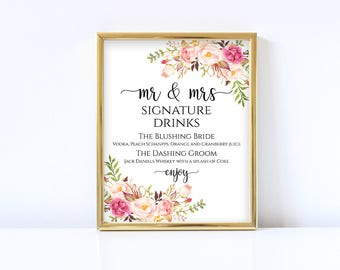 Signature drinks sign Wedding signature printable Signature cocktails bar sign PDF Instant download Mr and Mrs sign