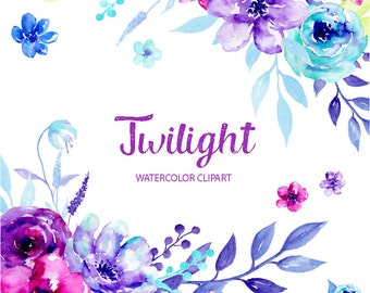 Watercolor Clipart Twilight - blue and purple flowers, decorative elements and flower posies for instant download