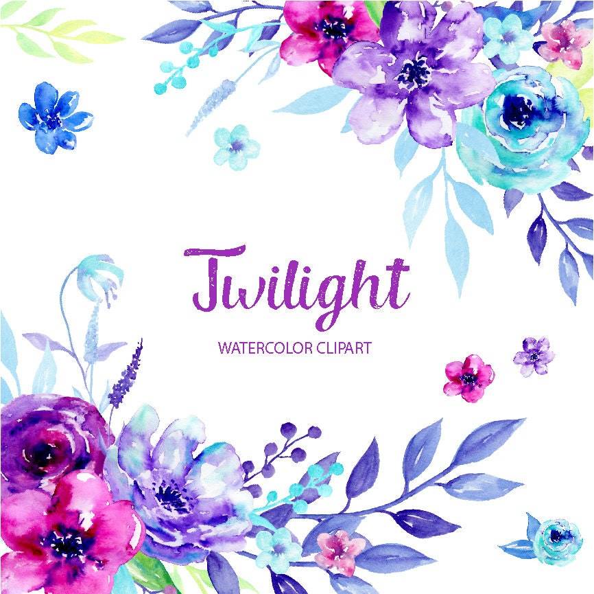 Watercolor Clipart Twilight Blue And Purple Flowers