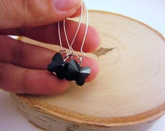 Butterfly earrings. Butterfly jewelry. Silver drop earrings. Kidney wire earrings. Swarovski earrings. Black Swarovski cyrstals.