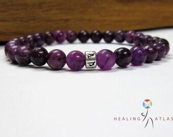 Lepidolite Om Mani Padme Mantra Mala Bracelet Purple Bracelet Lepidolite All Chakra Lepidolite Meditation Yoga Bracelet Lepidolite Mantra