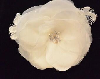 Soft Ivory Organza Flower , Wedding Hair Flower
