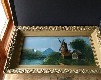 Antique Reverse Painting, Reverse Glass Painting, Wind Mill Windmill, Vintage Painting, Antique Painting, Ornate Wooden Frame, Framed Art