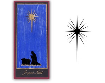 Star of Bethlehem Unmounted Christmas rubber stamp, nativity silhouette, religious holiday, Sweet Grass Stamps No.13