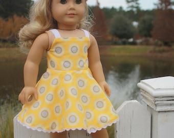 18 inch Doll Dress, Fits American Girl, Yellow Sunflower Sun Dress