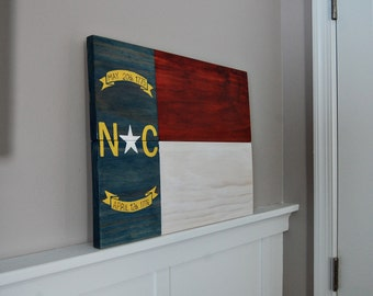 North Carolina Wooden Flag - Hand Painted & Stained - Multiple Sizes