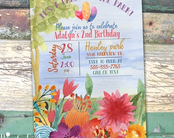 Watercolor Party in the Park Personalized Birthday  Printable Invitation Print at Home