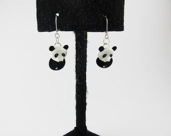 Panda Leverback Dangle Earring/925 Sterling Silver/Head Acrylic/Body Glass Shell/Faux crystal