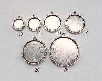 Zinc Alloy Double Sided 10mm/ 12mm/ 16mm/ 18mm/ 20mm/ 25mm Round Bezel Setting W/ Ring Antique Silver