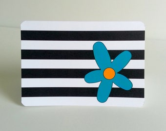 Black and White Note Card with Flower, Set of 8 black and white striped stationery with bright stylized flower accent thank you card