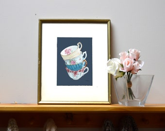 Lean on Me in Navy Blue | Digital Oil Painting Art Print | 16x20inches Instant Download Wall Art | Teacups Home Decor Gift for Her