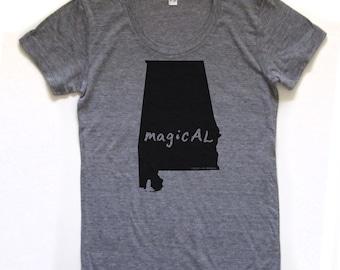 alabama shirt, alabama tshirt, graphic t, state pride, woman fashion t, gray tshirt, screen print, silkscreen, free shipping