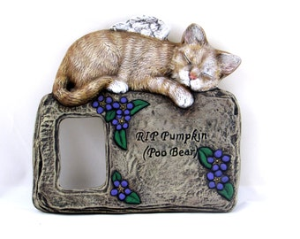 Custom Engraved and Painted Ceramic Cat Memorial Frame or Plaque  -hand made