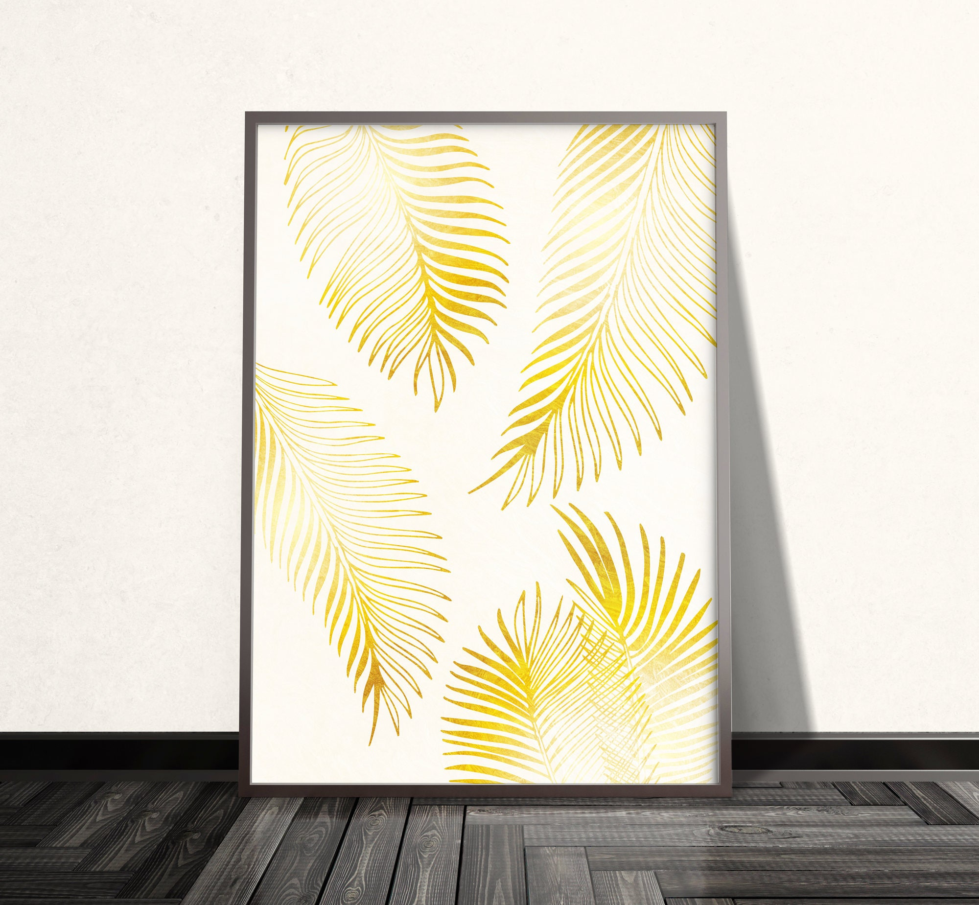 Gold Palm Leaf Print Gold Palm Leaf Art Gold Wall Art Gold