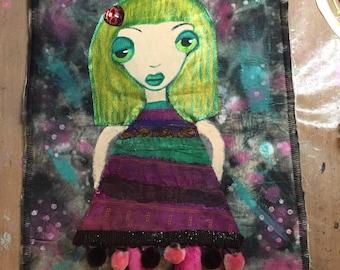 Handmade Odd Girl Art Quilt Enjoy the Journey