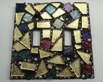 Mosaic Mixed Media Switch Plate Double Toggle - Mosaic Switch Plate Cover Gold Grey Multi Colored - Glass Mosaic Art Switch Plate Handmade