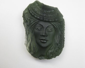 Moldavite on SALE,hand carved woman face