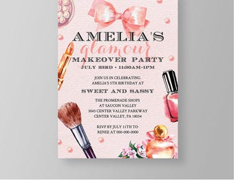 Makeover Party Invitation Template, Printable Girls Birthday Party Invite, Glamour Party, Makeup Party, Instant Download, Editable #019GBD