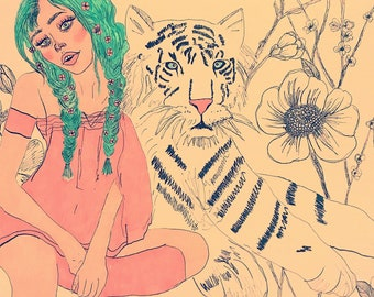 Pink forest nymph and white tiger