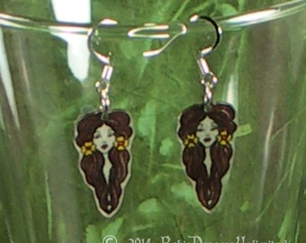 Brown Haired Girl Shrinky Dink Earrings