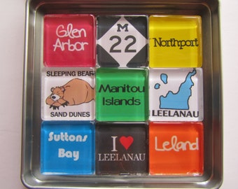 LELAND, Glen Arbor, Sleeping Bear, Leelanau, M22, Michigan, Manitou Islands, Up North Michigan, Magnets Set, Northwest Michigan Souvenir