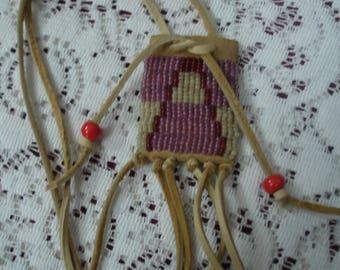Willow buckskin beaded amulet pouch