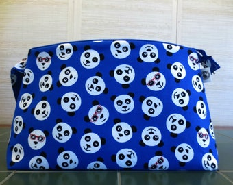 Pandas, Large Project Bag, Knitting Project Bag, Zippered Knitting Bag, Crochet Project Bag, Yarn Tote, Panda Project Bag