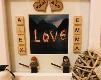 Harry Potter Ron and Hermione themed scrabble frame, wedding, engagement, couples gift