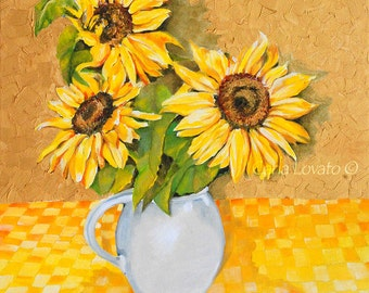 Sunflower painting, Oil Painting, Garden Art, 8 x 10 giclee Print, cottage decor, flower painting, landscape painting, abstract painting,